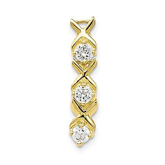 10k Yellow Gold Polished Open back Screw back With CZ Cubic Zirconia Simulated Diamond Xoxo Belly Ring Dangle Jewelry Gi