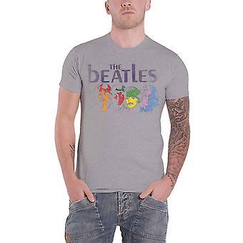 البيتلز تي شيرت الأبيض الألبوم العودة طباعة خمر شعار جديد الرسمية الرجال الرمادي