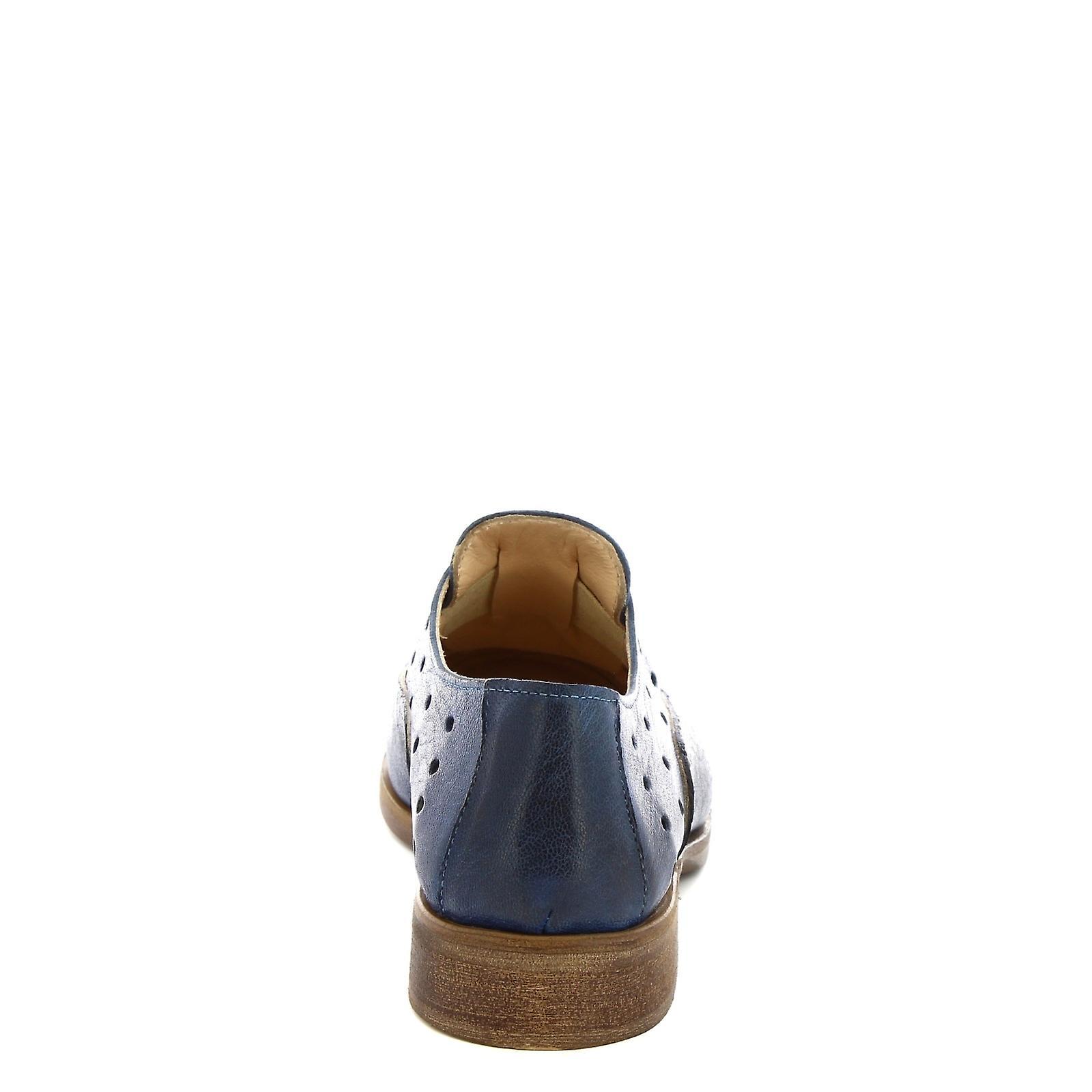 Leonardo Shoes Men's handmade laceless oxford shoes blue openwork calf leather
