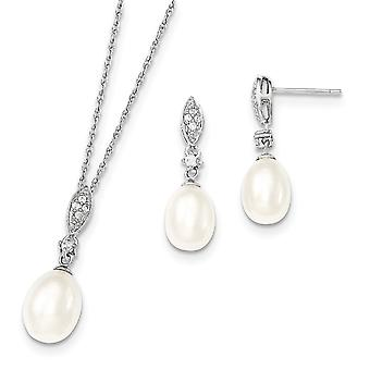 925 Sterling Silver 8 9mm White Freshwater Cultured Pearl CZ Cubic Zirconia Simulated Diamond Necklace and Earrings Set