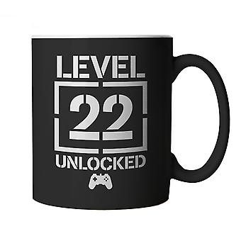 Level 22 Unlocked Video Game Birthday, Mug | Age Related Year Birthday Novelty Gift Present | 60s 70s 80s 90s Dad Grandad Son Mum Daughter | Gaming Cup Gift
