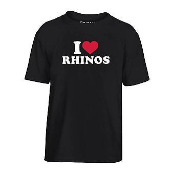 T-shirt bambino nero dec0169 i loves rhinos