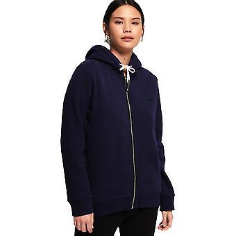 Superdry apelsin Label Elite Zip front hoodie Navy 82