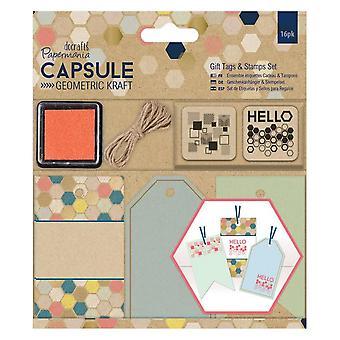 Papermania Geometric Kraft Gift Tag And Stamp Set