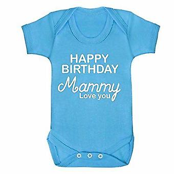 Happy birthday mammy blue short sleeve babygrow