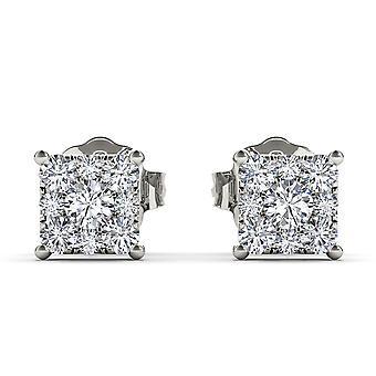 Igi certifié solide 10k or blanc 0,50 ct boucles d'oreilles diamant stud pushbacks