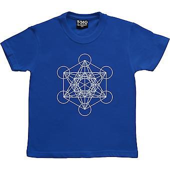 Metatron's Cube Royal Blue Kids' T-Shirt