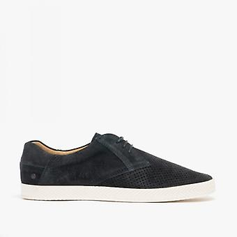 Base London Keel Mens Perforated Suede Casual Shoes Navy