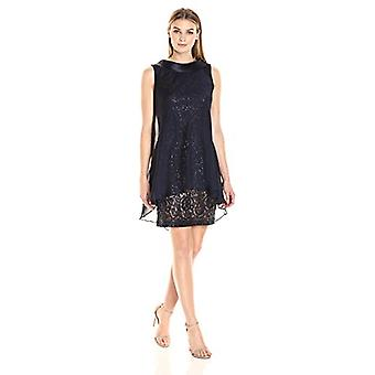 S.L. Fashions Women's Sleeveless Short Roll Collar Dress, Navy, 14