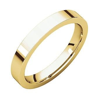 18k Yellow Gold 3mm Flat Comfort Fit Band Ring  Jewelry Gifts for Women - Ring Size: 5 to 7.5