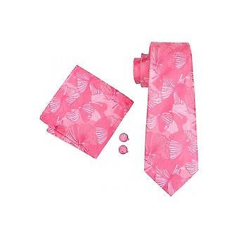 JSS Mens Pink Paisley 100% Silk Pocket Square, Cufflink en Tie Set