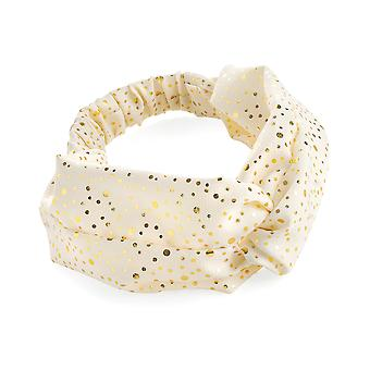 10.5cm Cream & Gold Colour Foil Print Elasticated Headwrap Headband