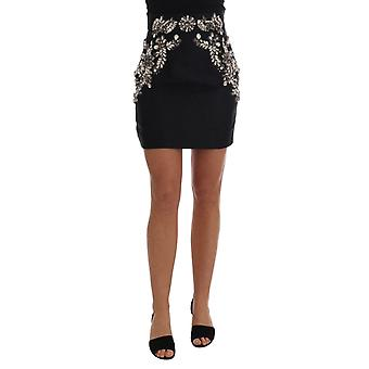Dolce & Gabbana Black Brocade Crystal High Mini Skirt