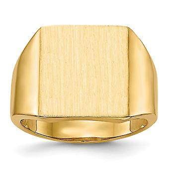 14k Yellow Gold Polished Open back Engravable Mens Signet Ring Size 10 Jewelry Gifts for Men