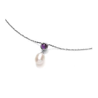 David Deyong Sterling Silver Pearl & Amethyst Drop Necklace