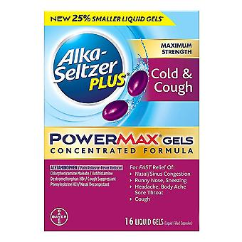 Alka-seltzer plus powermax gels, cough & cold, liquid gels, 16 ea