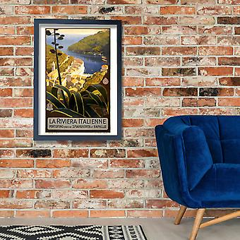Italy La Riviera italienne travel poster Poster Print Giclee