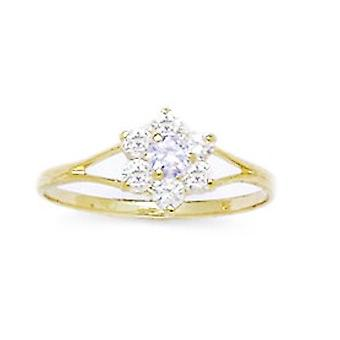 14k Yellow Gold Grey CZ Cubic Zirconia Simulated Diamond Size 5.5 Flower for boys or girls Ring