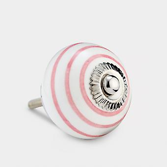 Ceramic Door Knob - White / Pink - Stripe