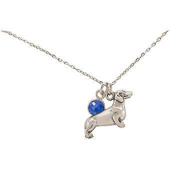 GEMSHINE necklace 3-D dachshund, dog. 925 Silver, gold plated or rose, sapphire