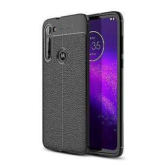 Motorola Moto G8 Power TPU Shell Litchi Textuur - Zwart