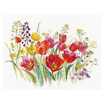 Alisa Cross Stitch Kit - Field of Tulips