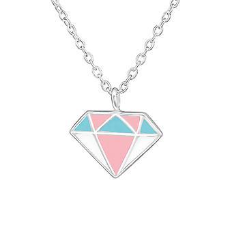 شكل الماس - 925 قلادات فضية الجنيه الاسترليني - W36707x