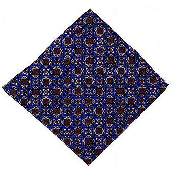 Michelsons of London Bold Medallion Silk Pocket Square - Blue