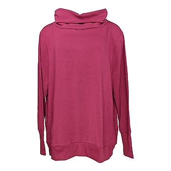 Anybody Women's Plus Sweater Plush Terry Cowl-Neck Purple A345169