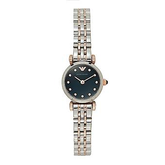 Armani Watches Ar11222 Navy Blue And Rose Gold Stainless Steel Ladies Watch