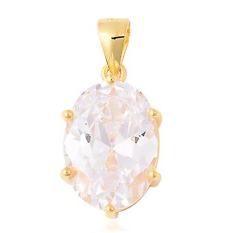 ELANZA Solitaire White Cubic Zirconia Pendant Yellow Gold Plated Sterling Silver