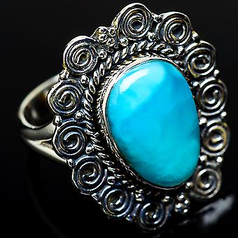 Large Larimar Ring Size 9 (925 Sterling Silver)  - Handmade Boho Vintage Jewelry RING11675