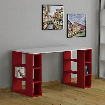 Desk Colmar Color Blanco, Rojo en Melaminic Chip 140x60x75 cm