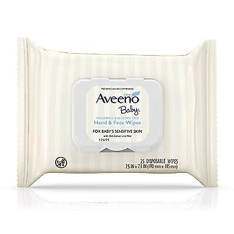Aveeno baby hand & face disposable wipes, for sensitive skin, 25 ea