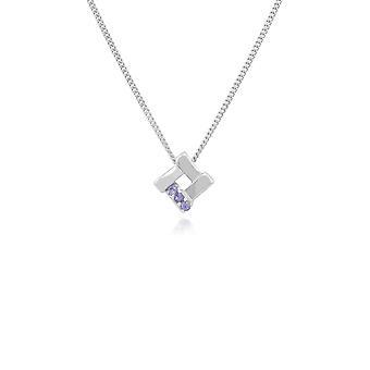Classic Round Tanzanite Square Crossover Pendant Necklace in 925 Sterling Silver 270P021505925