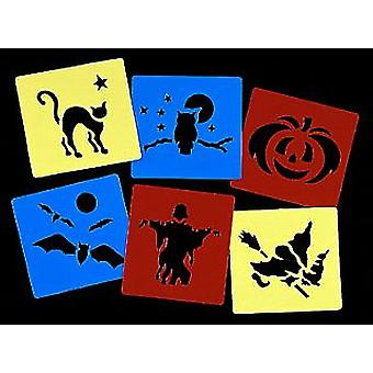6 Washable Plastic Halloween Stencils for Kids Crafts