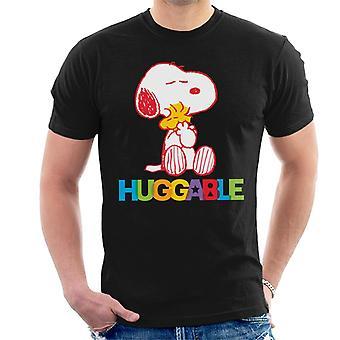 Peanuts Rainbow Huggable Snoopy & Woodstock Miesten t-paita