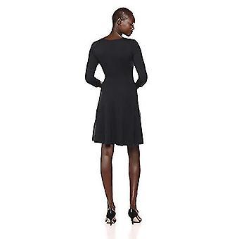 Lærke & Ro Kvinder & s Tre kvart ærme V-neck fit og flare kjole, sort, X-small