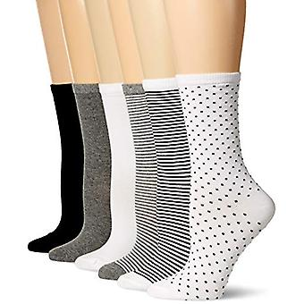 Essentials Women's 6-Pack Casual Crew Sock, Black Assorted, 6 to 9