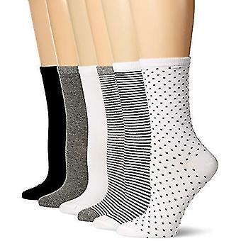 Essentials Women's 6-Pack Casual Crew Sock, Black Assorted, 6-9