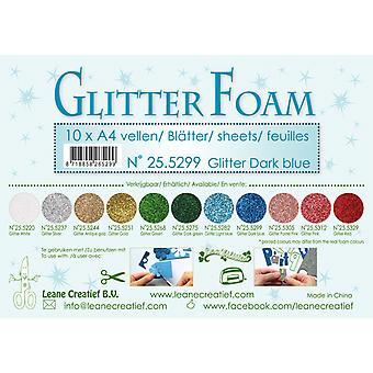 Leane Creatief Glitter Foam Sheets A4 Glitter Dark Blue