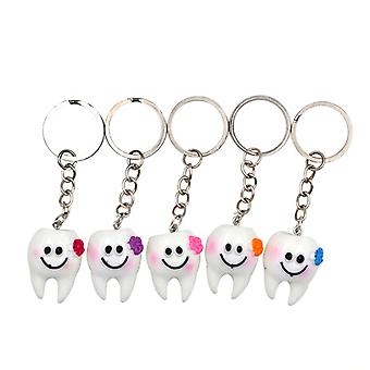 5pcs Dental Simulation Tooth Hanger Sleutelhanger- Mooie Cartoon Dental Decorative