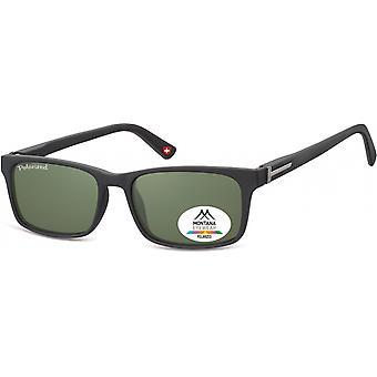 Sunglasses Unisex rectangular matt black/green (MP25)