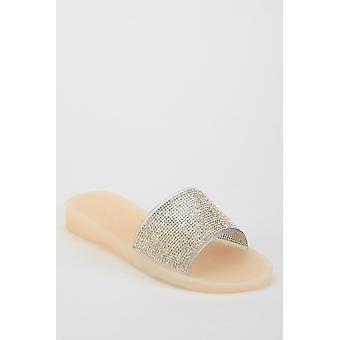 Sandálias de slide incrustada
