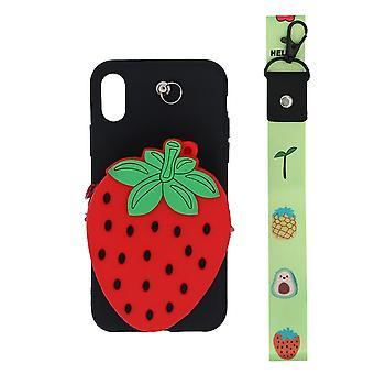iPhone XS skal/plånboksfodral Jordgubbe/svart/röd