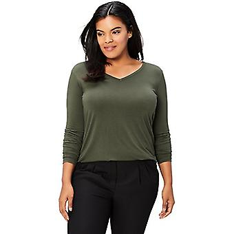 العلامة التجارية - طقوس اليومية المرأة & ق زائد حجم جيرسي طويلة الأكمام V-Neck T-Shi ...