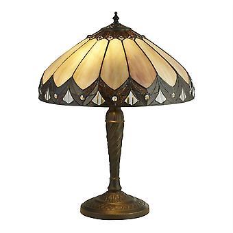 2 Lichte Tiffany Tafellamp Antiek Brons, Bruin, Paars, E27