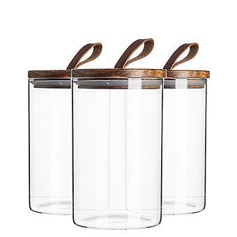 6-częściowy szklany słoik z drewnianą pokrywą pojemnik na pojemnik - Okrągły szczelny kanister - 1 litr
