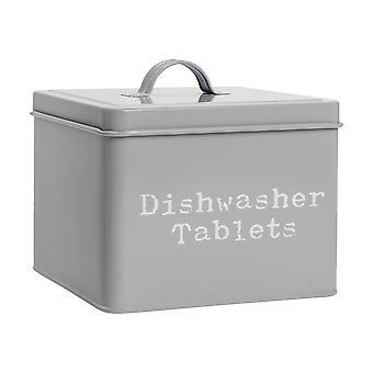 Industrial Dishwasher Tablet Storage Tin - Vintage Style Steel Kitchen Storage Caddy con coperchio - Grigio