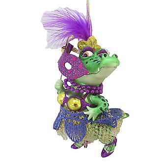 December Diamonds Ms Crocodile Mardi Gras Mask Purple Green Ornament Glass